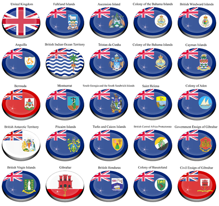 bot: Set of icons. British overseas territories (BOT) and colonies flags.
