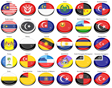 Set of icons. Flags of the Malaysian states and cities. Illustration