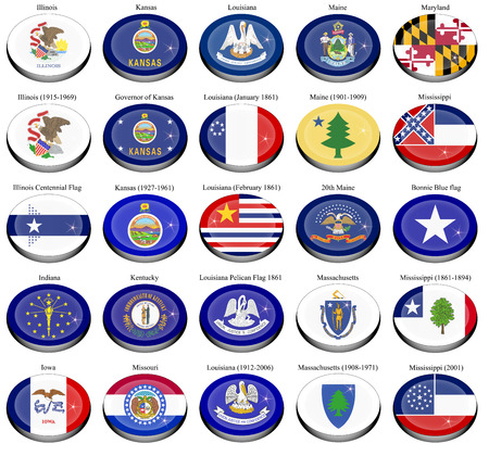 bonnie: Set of icons. States and territories of USA flags.