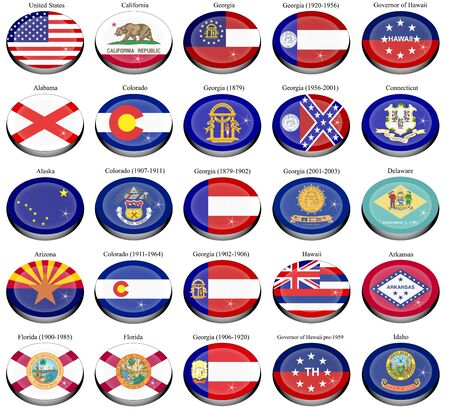 governor: Set of icons. States and territories of USA flags.