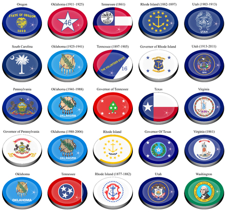 3d virginia: Set of icons. States and territories of USA flags.