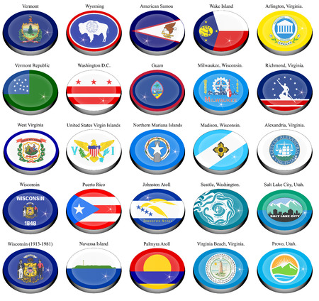 territories: Set of icons. States and territories of USA flags.
