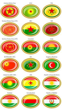 Set of icons. Flags of the Kurdistan.
