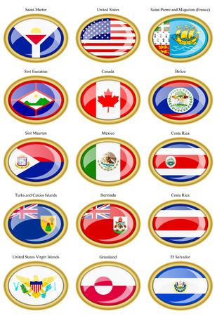 bandera de el salvador: Conjunto de iconos. Norte y banderas de América Central.