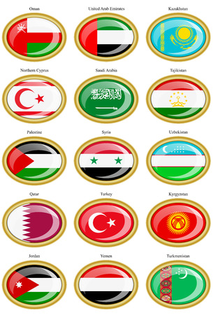 western asia: Set of icons. Flags of the Western and Central Asia.