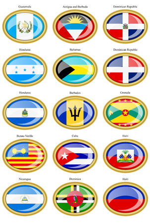 the americas: Set of icons. North and Central Americas flags. Illustration