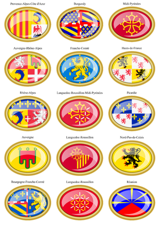 regions: Set of icons. Regions of France flags. Illustration