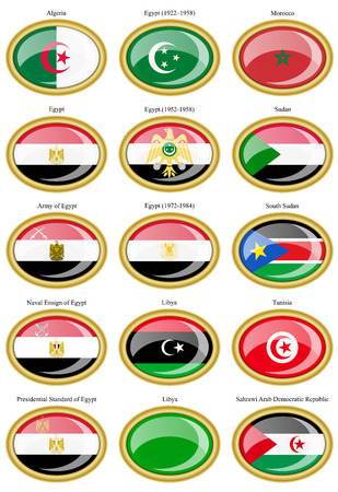 sahrawi arab democratic republic: Set of icons. Flags of the North Africa.