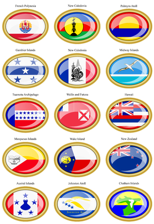 australasia: Set of icons. Flags of Australia, Oceania, Polynesia, Micronesia and Melanesia.