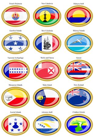 polynesia: Set of icons. Flags of Australia, Oceania, Polynesia, Micronesia and Melanesia.