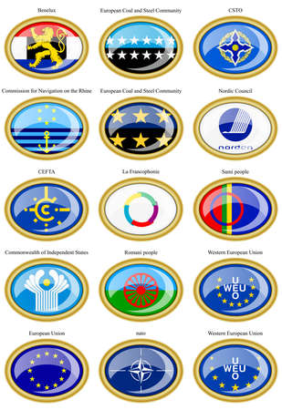 security council: Set of icons. Flags of the Europe.