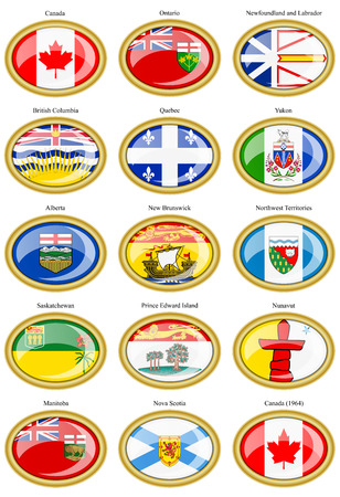 regions: Set of icons. Regions of Canada flags.