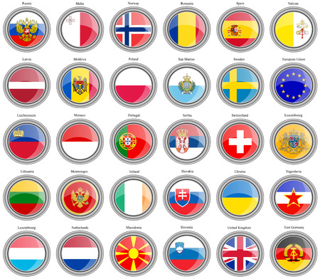 kingdom of spain: Set of icons. Flags of the Europe.
