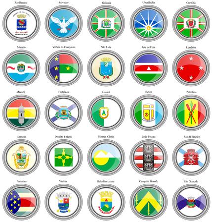 brazilian: Set of icons. Flags of the Brazilian cities.