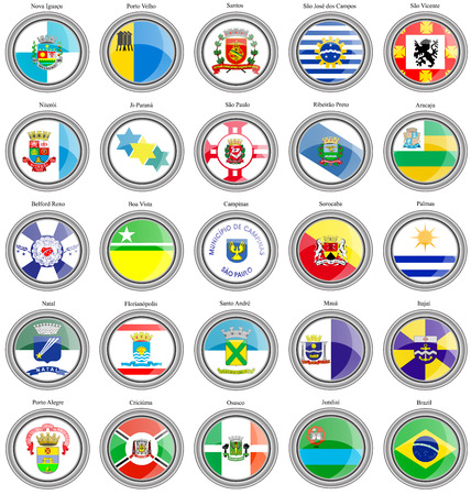dos: Set of icons. Flags of the Brazilian cities.
