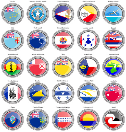 atoll: Set of icons. Flags of Australia and Oceania.