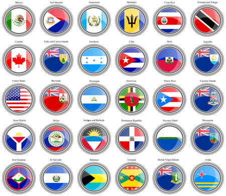 americas: Set of icons. North and Central Americas flags. Illustration