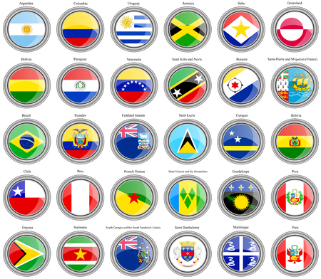 central america: Set of icons. Flags of the South and Central America. Illustration