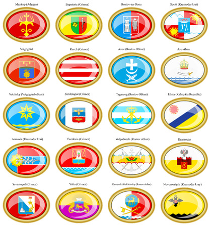 oblast: Set of icons. Flags of the Russian cities (Southern Federal District). Illustration