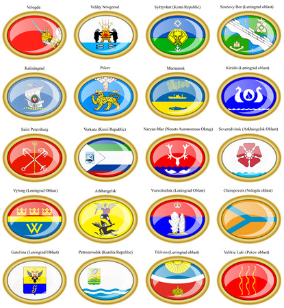 northwestern: Set of icons. Flags of the Russian cities (Northwestern Federal District).