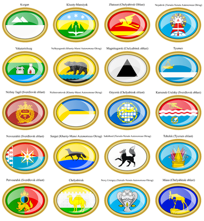 oblast: Set of icons. Flags of the Russian cities (Ural Federal District). Illustration