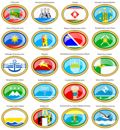 oblast: Set of icons. Flags of the Russian cities (Far Eastern Federal District).