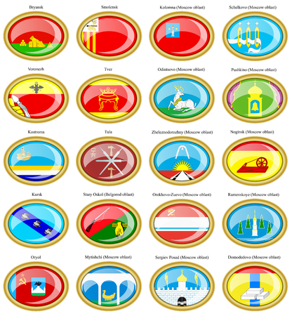 oblast: Set of icons. Flags of the Russian cities (Central Federal District).