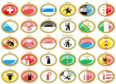 Set of icons. Cantons of Switzerland Flags. Illustration