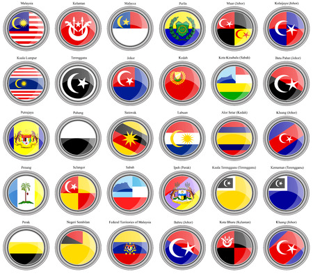 Set of icons. Flags of the Malaysian states and cities. Vector.