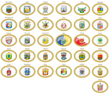 Set of icons. Flags of the Mexico.