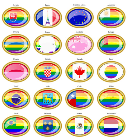 Set of icons. LGBT (gay) flags.