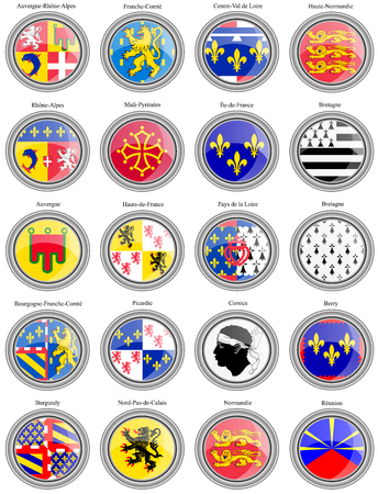 corsica: Set of icons. Regions of France flags. Illustration