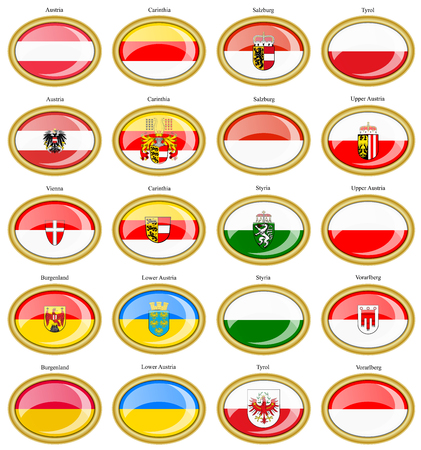 Set of icons. Regions of Austria flags. 3D. Vetores