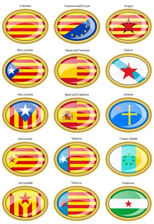 Conjunto de iconos. Banderas de los movimientos separatistas dentro de España. 3D. Ilustración de vector