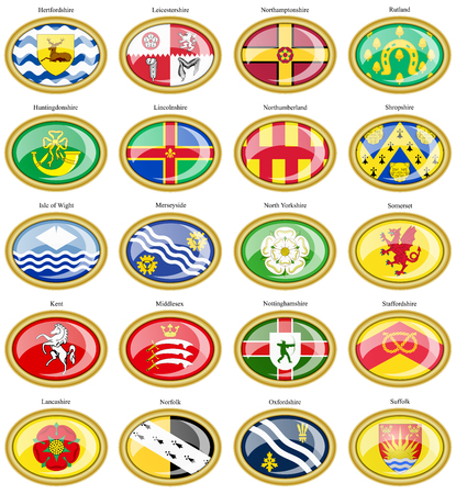 counties: Set of icons. Counties of England flags. 3D.