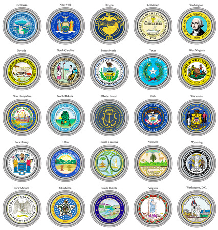 3d virginia: Set of icons. States of USA seals. 3D.