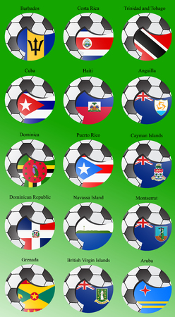 americas: Set of icons. North and Central Americas flags with soccer ball. Vector. 3D. Illustration