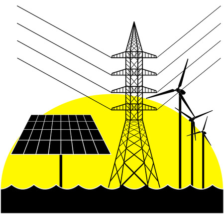 Silhouettes of the electricity pylon, solar panel and wind turbines. Illustration