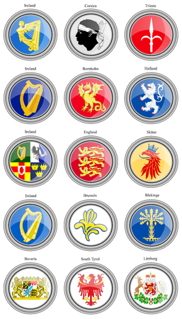 limburg: Set of icons. Coat of arms of the Europe. Vector.