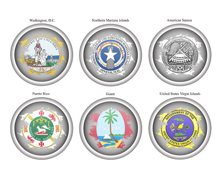district of columbia: Set of icons. States of USA seals. Vector.