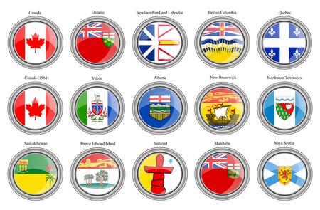saskatchewan flag: Set of icons. Regions of Canada flags. Vector.