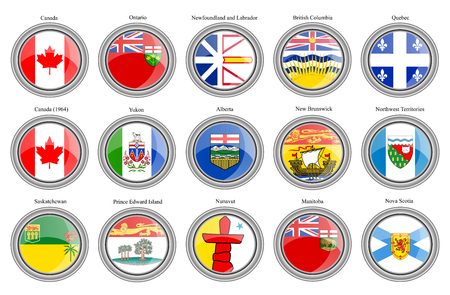 Set of icons. Regions of Canada flags. Vector.
