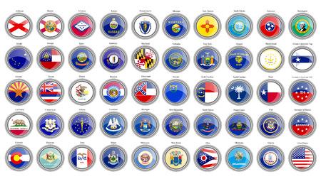 Conjunto de iconos. Estados de las banderas de Estados Unidos. Vector.