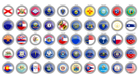 Set of icons. States of the USA flags. Vector. Çizim