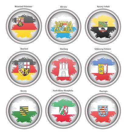 Ensemble d'icônes. Drapeaux des États de l'Allemagne. Vecteur.