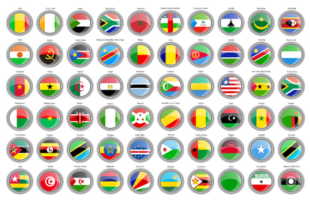Set of icons. Flags of the African countries. Vector.