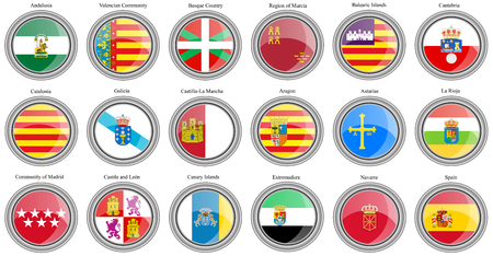 Set of icons. Autonomous communities of Spain flags. Vector. Çizim