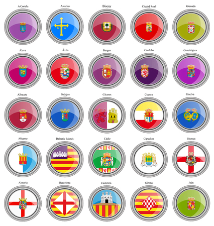 Set of icons. Provinces of Spain flags. Vector.