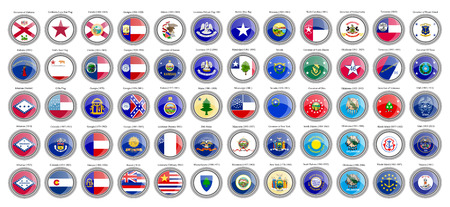 Set of icons. States of the USA flags. Vector. Illustration