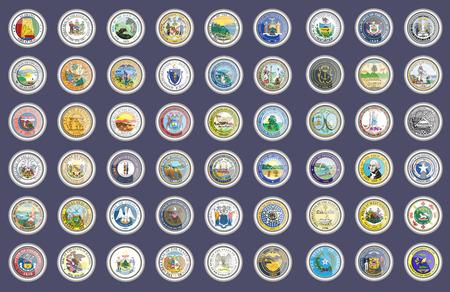 Ensemble d'icônes. États des phoques américains. Vecteur. 3D. Vecteurs